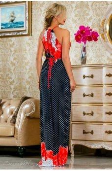 Изысканное длинное платье темно-синего цвета с красно-каралловым принтом