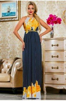 Изысканное длинное платье темно-синего цвета с ярко-желтым принтом