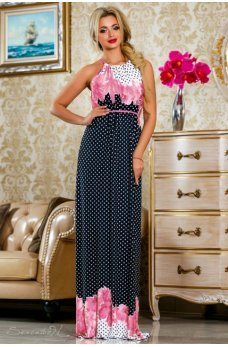 Изысканное длинное платье темно-синего цвета с сиреневым принтом
