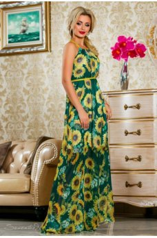 Длинное легкое платье зеленого цвета с ярким цветочным принтом