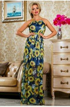Длинное легкое платье темно-синего цвета с ярким цветочным принтом