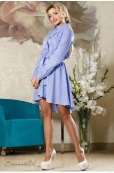 Изысканное летнее платье бело-голубого цвета в полоску