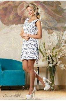 Стильное летнее платье белого цвета с цветочным принтом