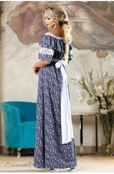 Женственное нежное платье синего цвета с мелким белым принтом