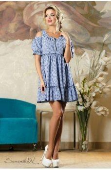 Воздушное летнее платье синего цвета