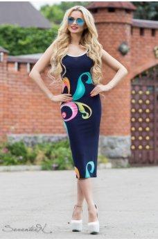 Женственное облегающее платье темно-синего цвета