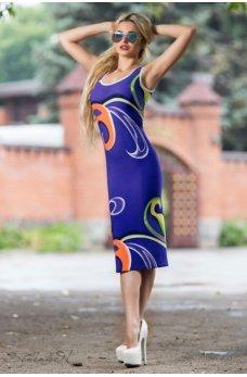 Женственное облегающее платье цвета электрик
