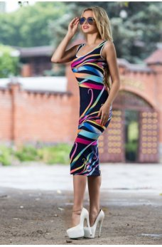 Женственное облегающее платье темно-синего цвета с принтом