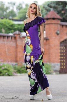 Изящное длинное платье фиолетового цвета