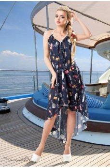 Стильное и воздушное синее платье