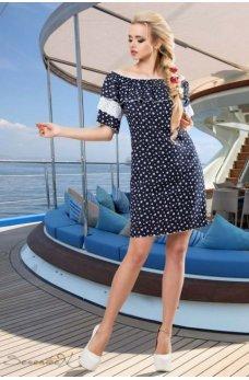 Элегантное летнее платье в темно-синем цвете
