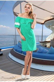 Элегантное летнее платье в зеленом цвете
