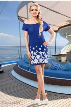 Синее платье с морской тематикой