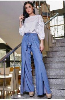Синие расклешенные брюки с поясом