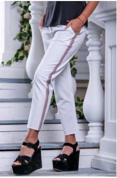 Белые молодежные брюки с лампасами