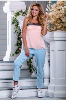 Голубые легкие укороченные штаны
