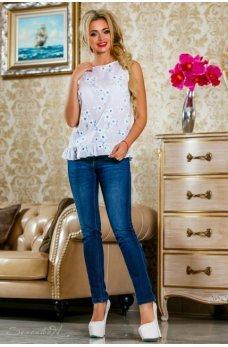 Белая нежная блуза с принтом