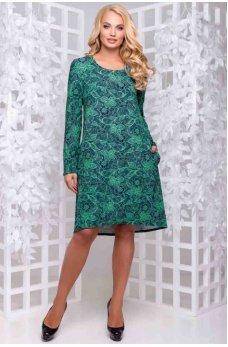 Платье трапеция из турецкого трикотажа зеленое