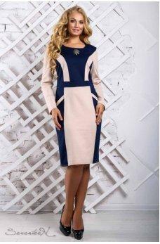 Стильное сине-бежевое платье больших размеров