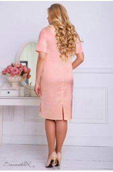 Атласное платье персикового цвета с вышивкой по низу