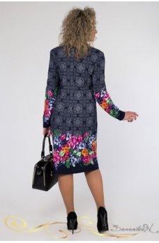 Темно-синее стильное платье с сиреневым принтом