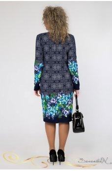 Темно-синее красочное платье с бирюзовым принтом
