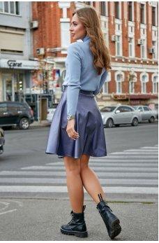Синяя пышная юбка из эко-кожи