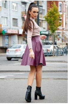Бордовая пышная юбка из эко-кожи