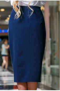 Безумно стильная кожаная синяя юбочка