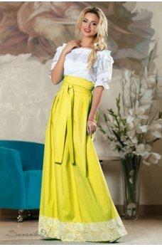 Желтая воздушная юбка с ажуром