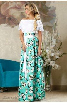 Бирюзовая яркая юбка с принтом