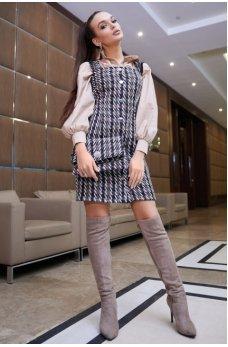 Гламурный платье сарафан черного цвета  в бело-кофейную клетку
