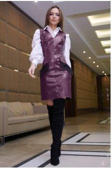 Стильное платье-сарафан марсалового цвета