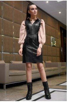 Стильное платье-сарафан черного цвета
