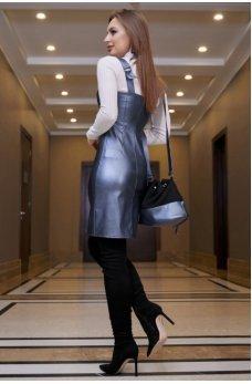 Офисное платье-сарафан синего цвета с эко-кожи