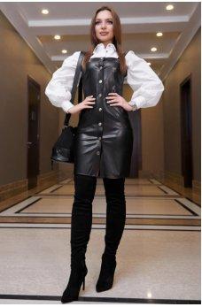 Офисное платье-сарафан черного цвета с эко-кожи