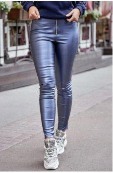 Брюки-легинсы из эко-кожи синие