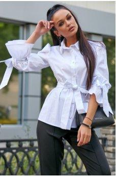Белая нарядная рубашка из стреч-коттона