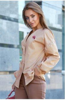 Бежевая гламурная рубашка с оригинальной вышивкой