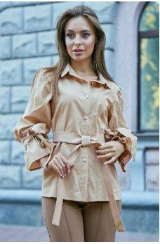 Бежевая нарядная рубашка из стреч-коттона