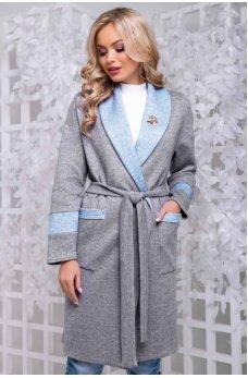 Кардиган серо-голубого цвета с поясом