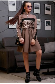 Кофейное платье на кулиске с пышной юбочкой с принтом леопард
