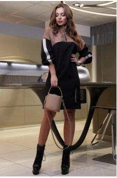 Черно-кофейное платье силуэта трапеция спортивного стиля