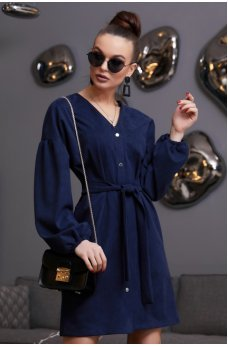 Темно-синее платье рубашка из замши