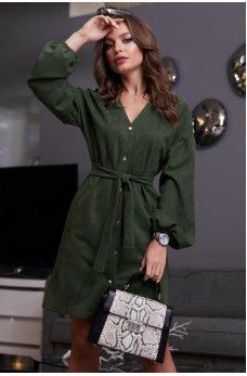 Темно-зеленое платье рубашка из замши