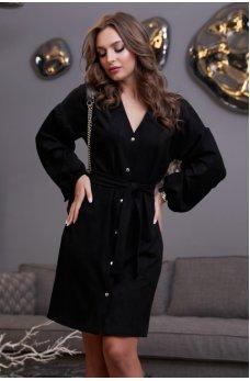 Черное платье рубашка из замши