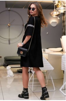 Стильное черное замшевое платье со вставкой