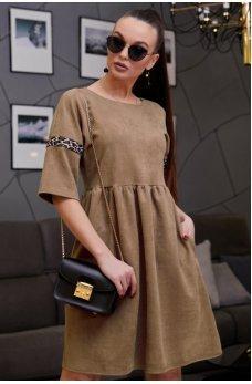 Стильное кофейное замшевое платье со вставкой