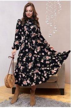 Черное аутентичное платье с поясом