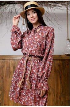 Милое терракотовое платье из штапеля